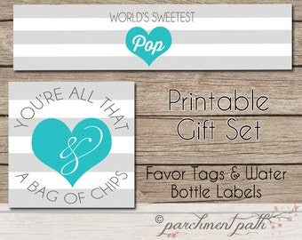 You're All That and A Bag of Chips -World's Sweetest Pop Father's Day Gift Printable Set - Instant Download - Gift Tags Water Bottle Labels