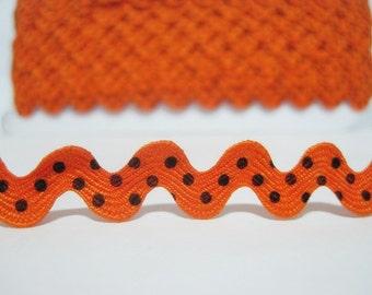 5 yards Orange Polka Dot Rick Rack Trim, Ric Rac, Rick Rack, wholesale rick rack, polka dot trim, orange rick rack, orange trim, polka dot