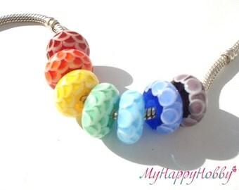 Handmade Lampwork Beads   european charm bracelet  / BHB bead , spacer bead big hole