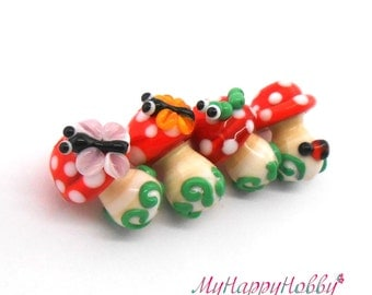 Toadstool glass lampwork bead