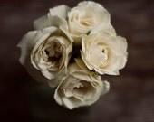 rose art, white flower art, farmhouse decor, floral nursery decor, brown and white art, rustic flower art, romantic floral art,girls decor