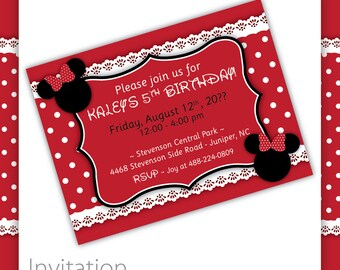 Kids Birthday - Minnie Mouse Invitation . RED ~ Minnie Mouse Party Minnie Mouse Birthday Girls Birthday Minny Mouse Micky Mouse Pink Minnie
