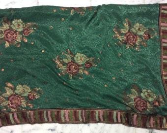 Used Sari in green Dress  Making fabric sarong drape Embroidered Sari
