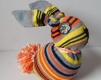 Upcyle sock bunny Halloween stripe plush rabbit spooky rag doll sock animal