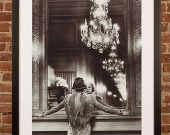 "36""x 44"" NEW Xl Large - Alfred Eisenstaedt - Model in ostrich gown FRAMED PRINT Paris"