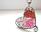 Red, Pink and multi candy colored Genuine Sea Glass Hand Knitted Fine Silver Wire Heart Pendant with 24 inch chain