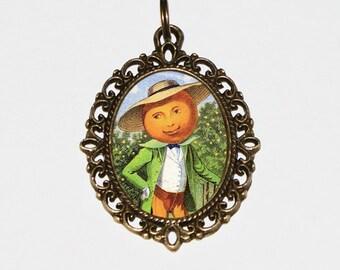 Orange Man Necklace, Oranges, Citrus, Fruit Jewelry, Oval Pendant