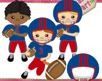 Little Football Player Boys Red and Blue Clipart (Digital Download)