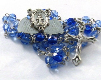 Blue Czech Glass Handmade Catholic Rosary with Mysteries Fan Center Medal