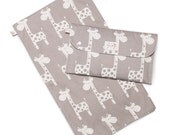 Nappy clutch Diaper clutch nappy wallet with travel change mat. Waterproof lining 'Giraffe' grey. Fantastic baby shower gift.