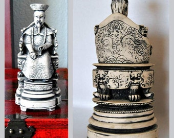 SALE Antique Chinese Emperor Statue, Asian Art, Sculptures, Figurines Unusual Objects Antiques Chinoiserie Ornate Decor Collectibles