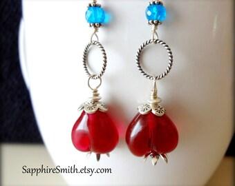 AMERICA Artisan Lampwork Glass Red Heart Beads, Neon Apatite, Hill Tribe Fine Silver Earrings - 25% off