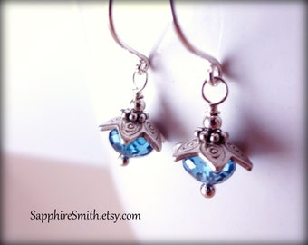 MINORCA London Blue Topaz & Hill Tribe Fine Silver Earrings, December birthstone, gifts for her