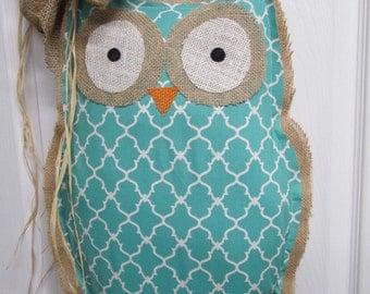 READY TO SHIP Owl Burlap Door Hanger Door Decoration Mixed Media