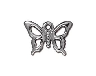 Tierracast OPEN BUTTERFLY Charm, Tierra Cast Silver Plated Pewter Charms, Lead Free, Made in USA  (94212212)