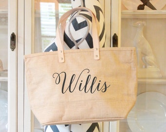 Burlap Tote Bag, Monogrammed Tote Bag, Custom Bag, Womens Accessory, Personalized Purse, Gift For Her, Jute Beach, Large Carryall Bag,