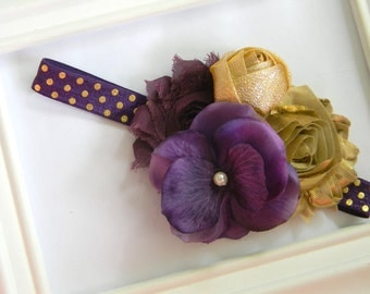 Plum and Gold Shabby Chic Headband - Girls Headband - Shabby Chic Headband - Baby Headband