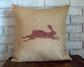 Leaping Bunny Pillow Cover - Rabbit Pillow - Burlap Pillow - Decorative Pillow - Choose Size and Colors - Rustic Country Easter Pillow