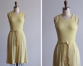 1970s Savannah Yellow Dress / Pointelle Dress
