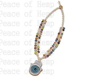 Beaded Hamsa Hemp Necklace