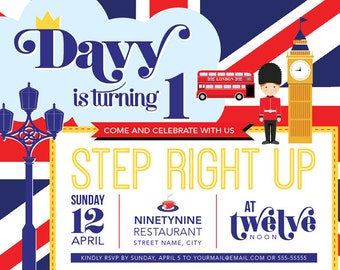 Printable Birthday Invitation: London Theme Birthday Party Invitation