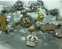 CROWN FOR A QUEEN vintage  antique assemblage necklace