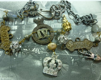 CROWN FOR A QUEEN vintage  antique assemblage necklace