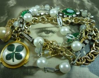 FOUR LEAF CLOVER lucky green multi strand chunky vintage assemblage bracelet