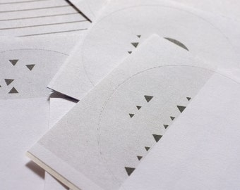 Stickers Greyscale Round Assorted Pack - Set of 5 Sticker Seals - Risograph