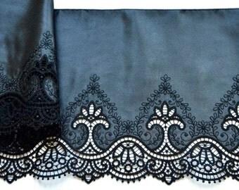 Black Satin Trim,  Victorian Embroidered Satin, Black Lingerie, Black Dress, Renaissance Lace, Historical Costume, Lace Crafts, Dolls