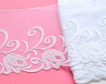 White Wedding Lace Trim, White Bridal Lace, Floral Wedding Lace Trim, Wedding Dress, Wedding Veil, Mantilla