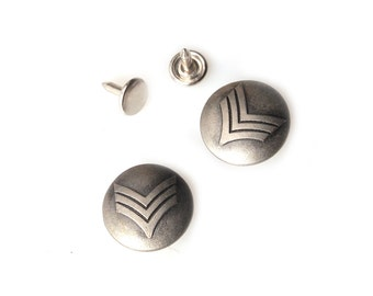 10 sets 20mm buttons denim No Sew  jeans tack metal buttons Antique silver button fastener with manual - Sergent