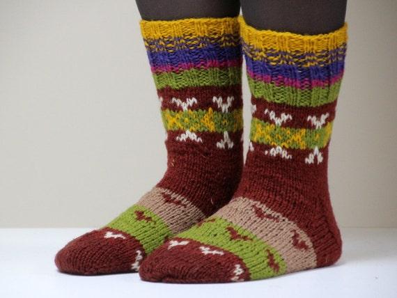 Warm and beautiful Hand knit wool socks, size - medium, large US W 9, EU 40