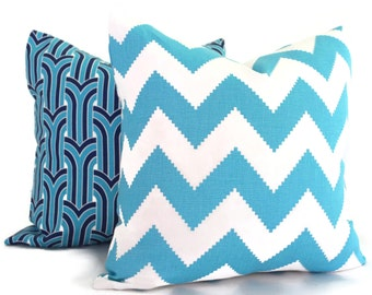 Jonathan Adler Aqua Chevron Decorative Pillow Cover, Throw Pillow, Accent Pillow, Toss Pillow