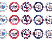 "1"" Patriotic Texas Girl Lone Star State Bottle Cap Image Sheets Party Favors Cupcake Topper Magnet Stickers Printables Instant Download."