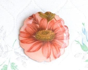 Antique Pink Flower Brooch - Enamel on Copper