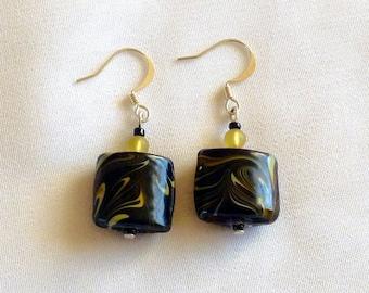 Marble Glass Bead Earrings, Black Marble Pierced Dangle Earrings, Vintage Black Glass Jewelry