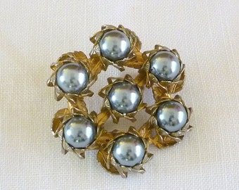 Black Faux Pearl Pin Brooch, Vintage Pearl Jewelry