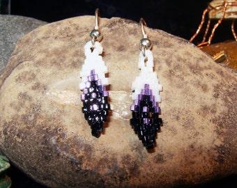 Handmade Native american style beaded feather earrings black & white with metallic purple