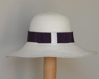 Genuine White/Ivory and purple panama hat, long brim straw sun hat, women's off white  hat, ladies' elegant summer hat