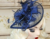 Navy Blue Fascinator - British Tea Party Hat - Wedding Fascinator - Cocktail Hat - Church Hat Kentucky Derby