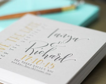 Handwritten Calligraphy Save the Date - letterpress, gold foil