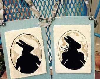 Punch Needle Pair Primitive Bunny silhouette wall hangings