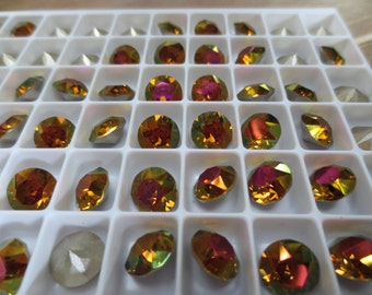 6X - Swarovski Crystal Elements Xirius Round Chaton Stone in Crystal Mahogany Foiled 1088 8mm 39ss