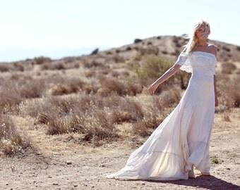 "Bohemian Wedding Dress, 1970s Hippie Gown, Silk Dress, Off The Shoulder Gown, Lace Bridal Dress - ""Casablanca"""
