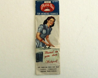 Vintage Sewing 1940s Press On Patch in Original Package Collectible