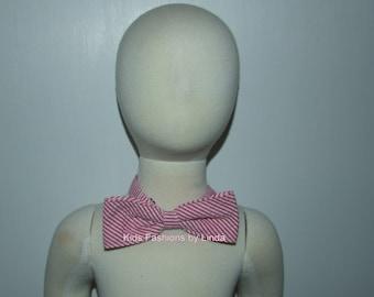 Red Seersucker Bow Tie with Adjustable Neck Strap