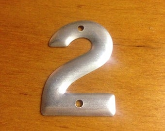 Vintage industrial metal number 2 old metal number