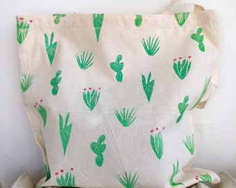 Abstract Cacti Block-Printed Cotton Tote Bag