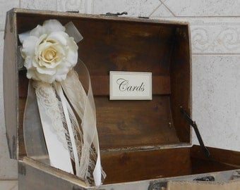 Wedding Card Box / Wedding Decor / Wedding Cardholder / Rustic Wooden Wedding Trunk / Wedding Suitcase Card Holder / Rustic Card Holder